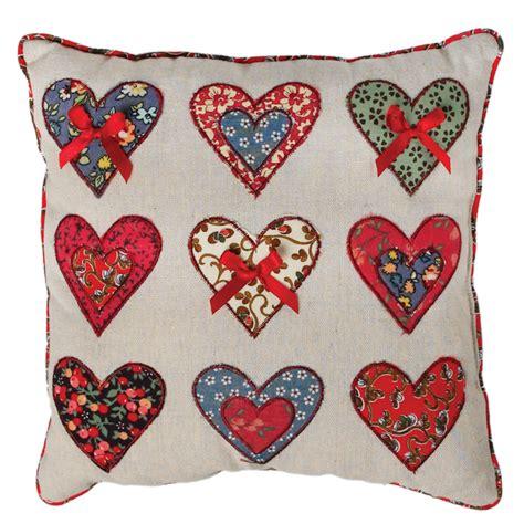 Patchwork Hearts - patchwork hearts cushion dotcomgiftshop