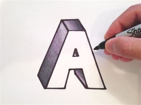 how to draw a 3d how to draw the letter a in 3d