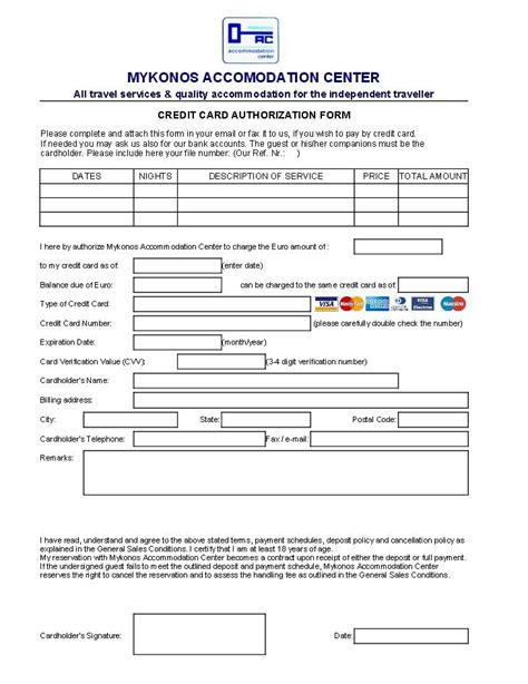 Credit Card Authorization Form Template Microsoft Office Credit Card Authorisation For Reservations Bookings