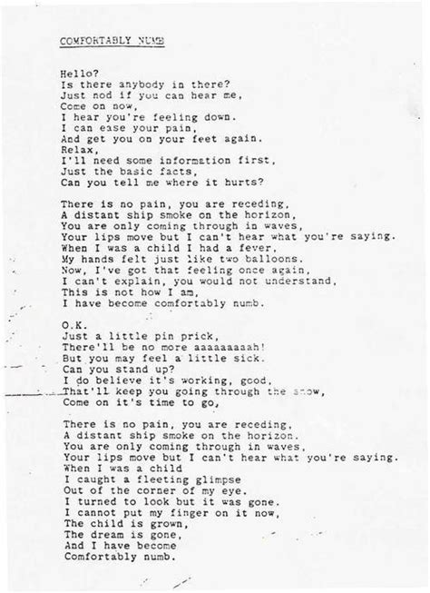 lyrics to comfortably numb by pink floyd best 25 comfortably numb ideas on pinterest pink floyd