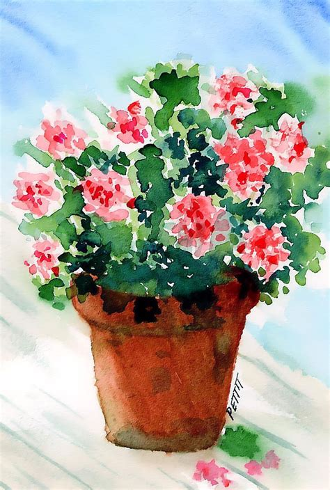 images of 6 flowers in pots geraniums pink clay flower pot digital watercolor print