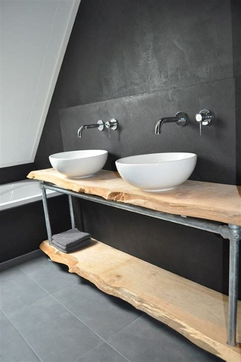 badkamermeubel hout en staal mooi badmeubel met hout en stalen steigerbuizen en