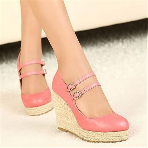 Best Quality Wedges wedges shoes top quality pink pu closed toe wedge high heel wedges hugshoes