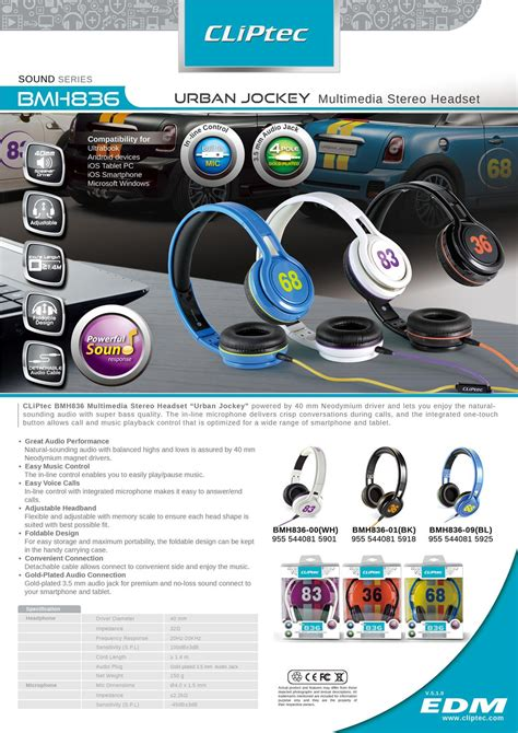 Cliptec Multimedia Headset Stereo Jockey Bmh 836 cliptec jockey dynamic foldable stereo headset headphone bmh836 earphone 11street