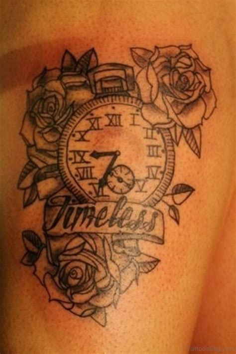 rose upper thigh tattoo 50 top class clock tattoos on thigh