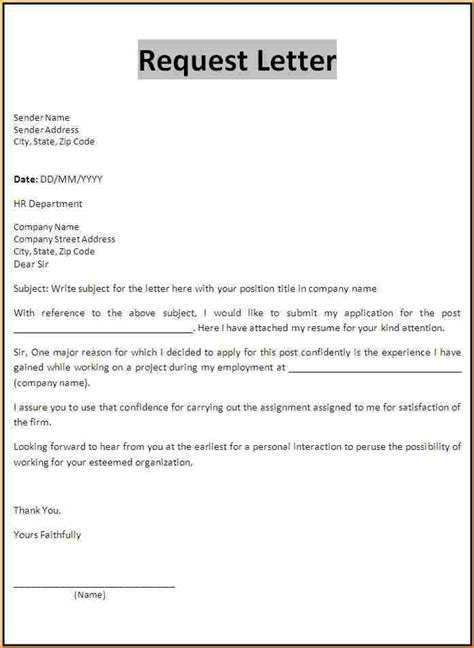 Request Letter Format With Subject 7 application form letter basic appication letter