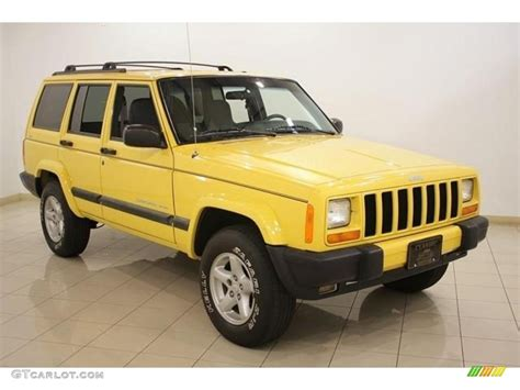 jeep cherokee yellow 2001 solar yellow jeep cherokee sport 4x4 16580112 photo