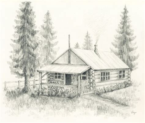 Cabin Drawings | aceo print little log cabin pencil drawing