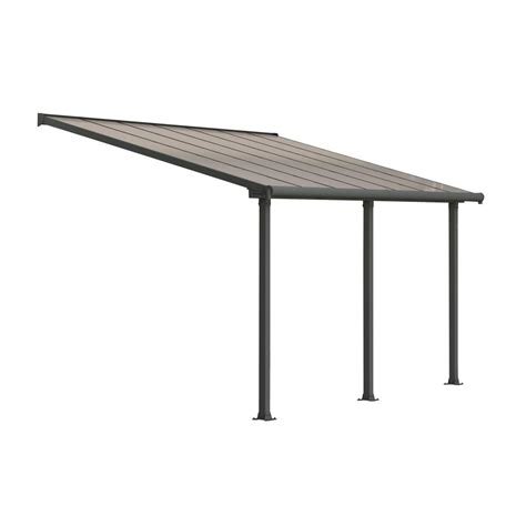 Palram Feria 10 ft. x 10 ft. Grey Patio Cover Awning