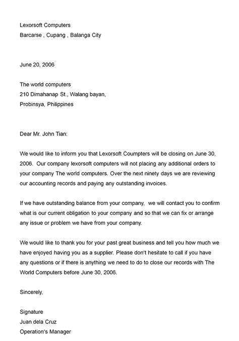 employee termination announcement template dismissal letter format best template collection