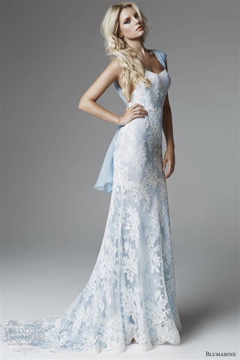 white and blue wedding dresses blumarine 2013 bridal collection wedding inspirasi
