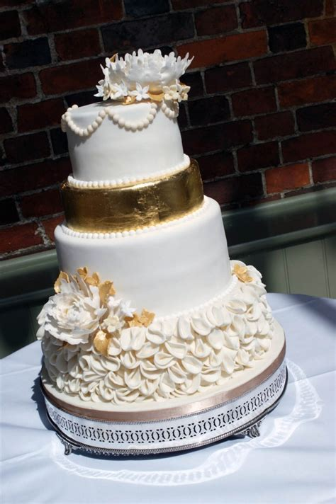 4 Tier Gold Peony Wedding Cake   Bakealous
