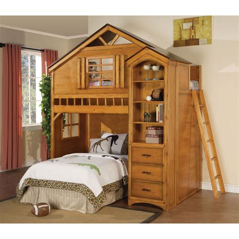 tree house loft bed infini furnishings treehouse twin loft bed reviews wayfair