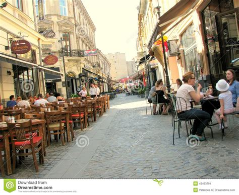 Street With Coffee Shops In The Old City Of Bucharest Editorial Photo   Image: 43463791