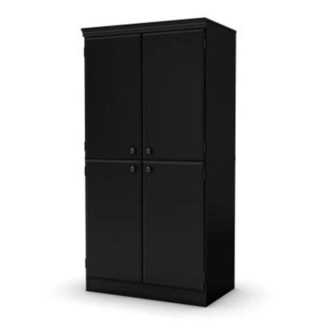 Black Storage Cabinet South Shore Furniture Freeport Wood Laminate Storage Cabinet With Shelves In Black 7270971
