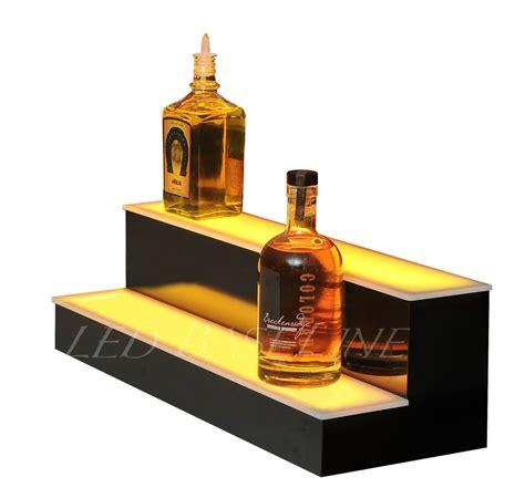 Liquor Bottle Rack by 22 Quot Led Bar Shelf Two Step Liquor Bottle Shelves Bottle