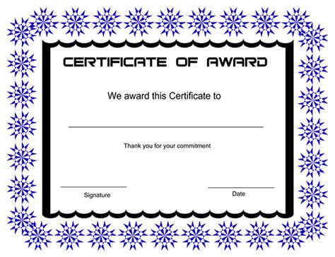 printable award certificates free printable