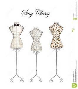 hand drawn illustration fashion mannequin stock