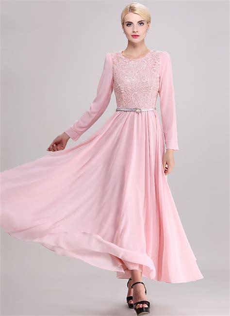 Gamis Maxy Pink Dress sleeve pink lace chiffon maxi dress rm358