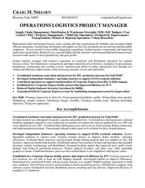 Transport Operations Manager Sle Resume by Logistics Operations Manager Resume Operations Logistics Project Manager In Salt Lake City Ut