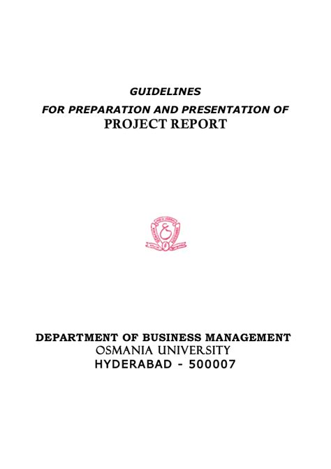 Mba Project Report On Cost by Mba Project Report As Per Osmania