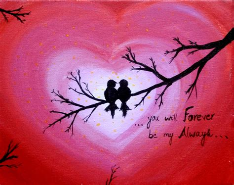 valentines painting birds acrylic painting canvas sign forever and