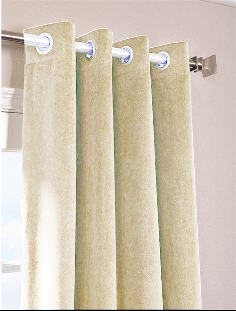 Ivory Vintage Blackout 100 Cotton Velvet Lined Curtain