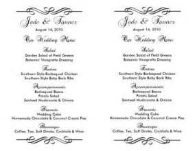 Free Wedding Menu Templates For Microsoft Word by Wedding Menu Template Wedding Menu Template 2