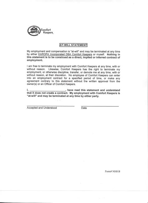 at will contract template 28 sle disclaimer for employee handbook employee