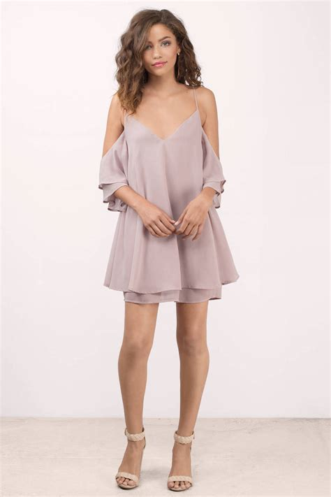 taupe color dress taupe dress cold shoulder dress shift dress tobi