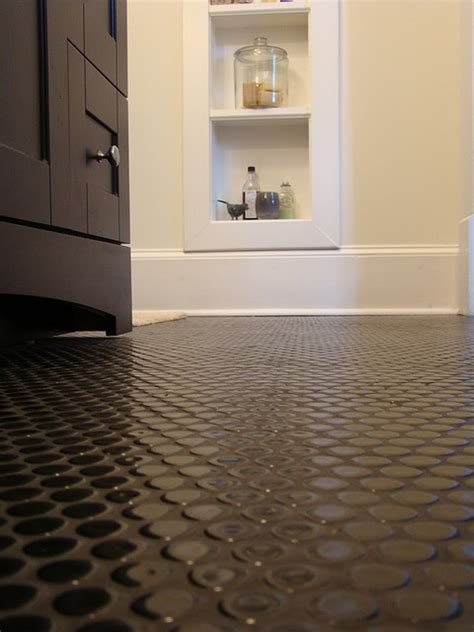 penny tile bathroom floor black penny tile floor with black grout bathroom reno