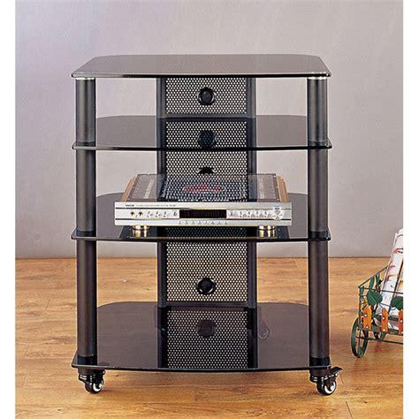 Vti Audio Rack by Vti 4 Shelf Mobile Audio Rack Black With Black Glass Ngr404bb