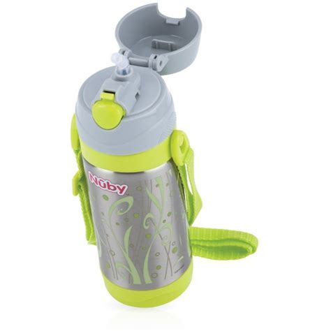 Sale Nuby Click It Insulated Stainless Steel Straw Bottle 280ml nuby thermal stainless steel cup with straw 360 ml dumyah nuby meal time bottles