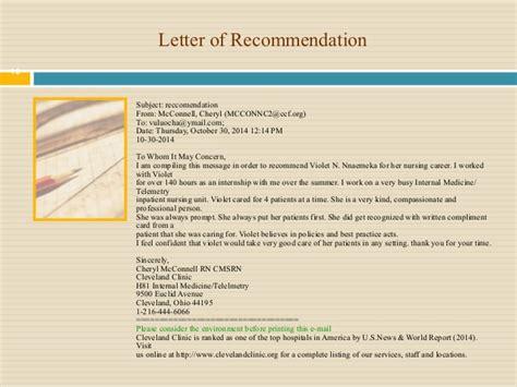 Ursuline College Letter Of Recommendation Violet Nursing Portfolio