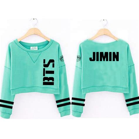 Hoodie Kpop Bts Wings Hitam kpop bts sweater wings mint green cropped hoodie jung kook
