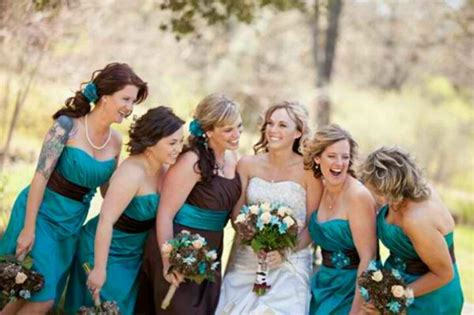 teal and brown for rustic wedding the colors except it would be all one color in one