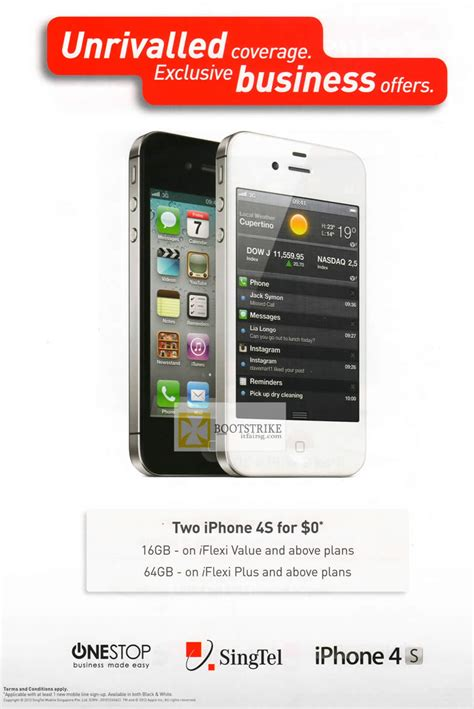singtel business two iphone 4s for 0 dollar onestop iflexi value plus it show 2012 price list