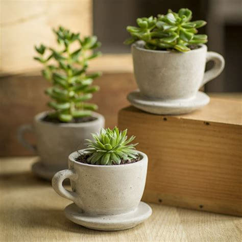 concrete tea coffee cup pot with attached saucer