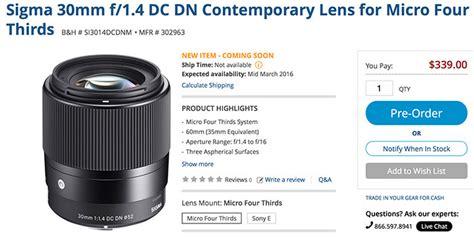 Sigma 30mm F1 4 Dc Dn Af Mft new sigma 30mm f 1 4 dc dn contemporary lens for micro four thirds announced 43 rumors