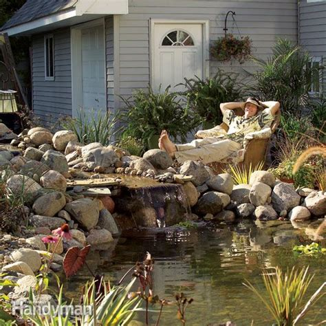 building a backyard waterfall build a backyard pond and waterfall the family handyman