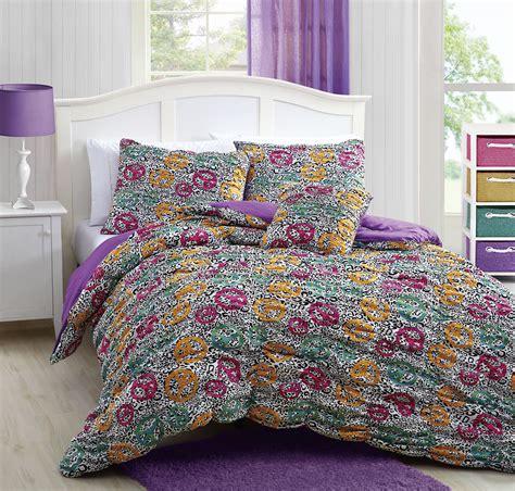 microfiber reversible cheetah peace mini comforter set