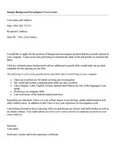 cover letter sle for resume background investigator resume sales investigator