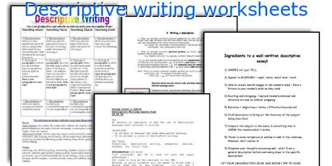 Esl Descriptive Essay Writing Website For School by Teaching Worksheets Descriptive Writing