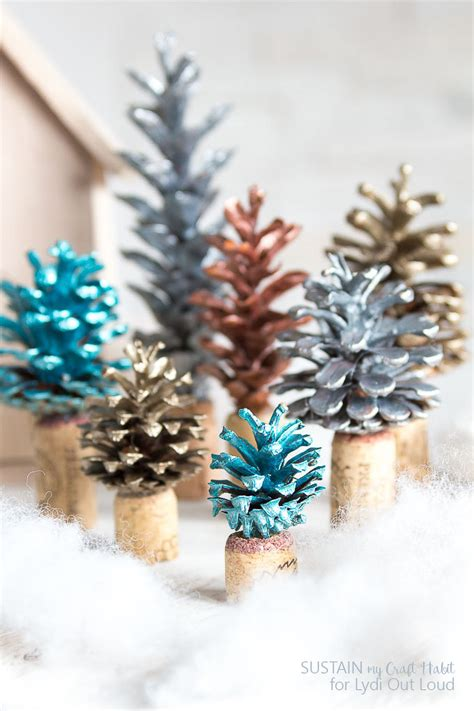 pine cone christmas ideas painted pinecone and cork tree decorations lydi out loud