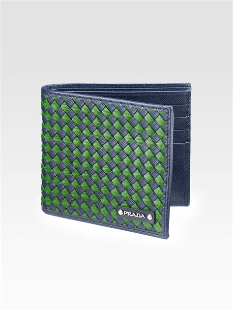 Lomberg Bifold Wallet Navy lyst prada intreccio bi fold wallet in blue for
