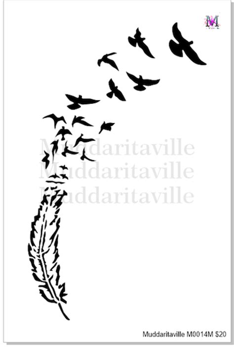 m0014 birds of a feather stencil muddaritaville studio