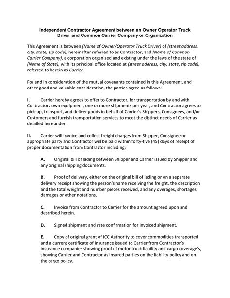 Agreement Letter For Driver Independent Contractor Agreement Between An Owner Operator Truck Driver Contract Agreement