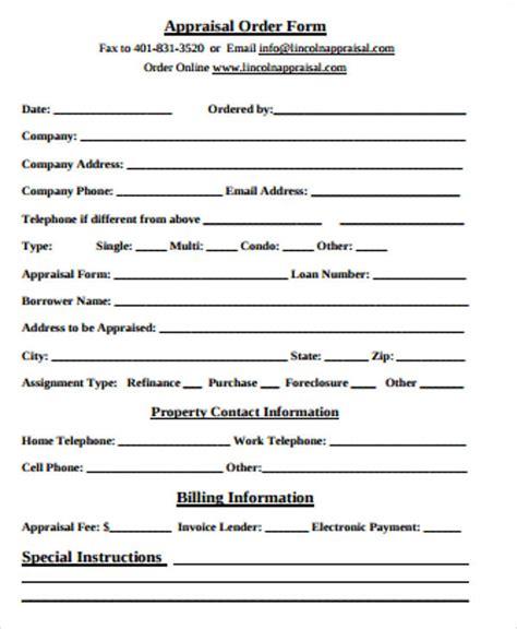 appraisal order form 11 sle appraisal order forms sle templates