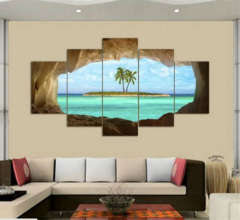 true home decor 2016 real sale cuadros 5 panel canvas seacape living rooms