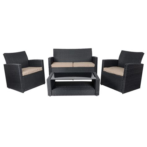 black tuscany rattan wicker sofa garden set with coffee table